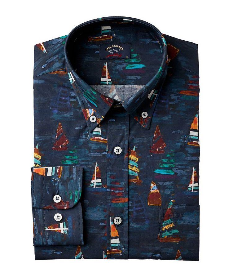 Painted Sailboat Cotton Sport Shirt image 0