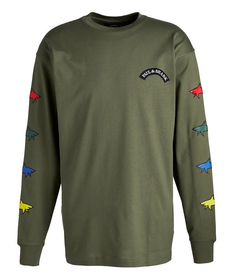 Long-Sleeve Cotton Shark Logo T-Shirt image 0