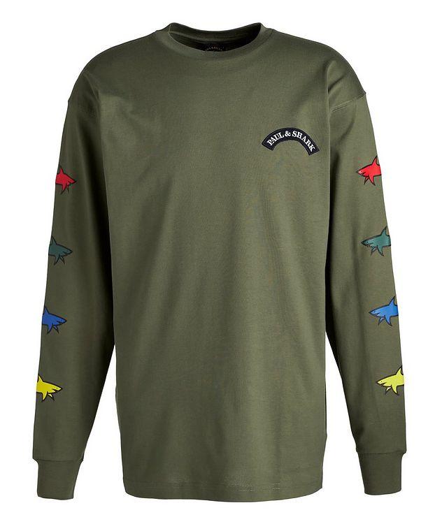 Long-Sleeve Cotton Shark Logo T-Shirt picture 1