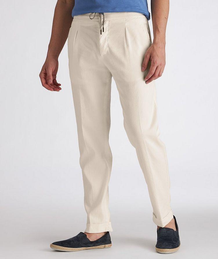 Linen-Stretch Cotton Drawstring Jeans image 1