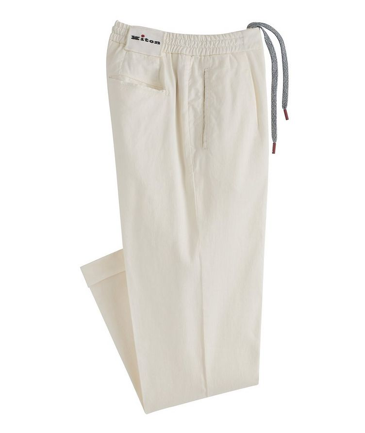 Linen-Stretch Cotton Drawstring Jeans image 0