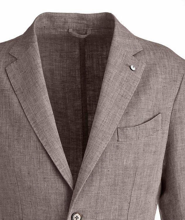 Slim-Fit Herringbone Linen Sports Jacket picture 3