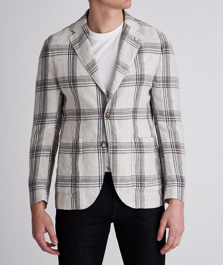 Unstructured Checked Linen Sports Jacket image 1