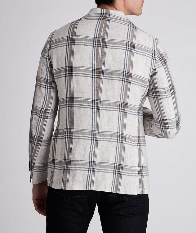 Unstructured Checked Linen Sports Jacket picture 3