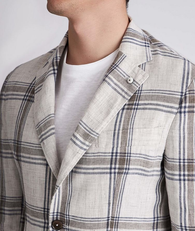 Unstructured Checked Linen Sports Jacket image 3