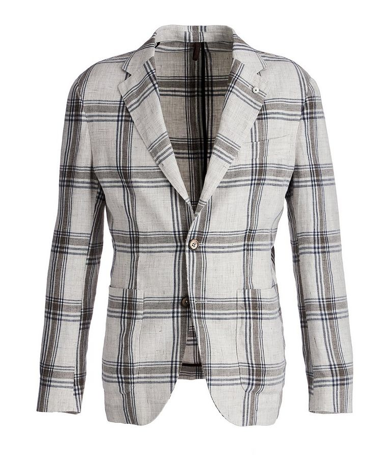 Unstructured Checked Linen Sports Jacket image 0