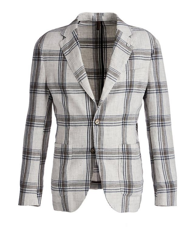 Unstructured Checked Linen Sports Jacket picture 1