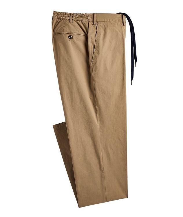 Slim Fit Drawstring Cotton-Blend Pants picture 1