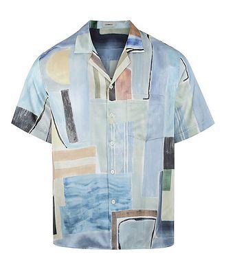 COMMAS Short-Sleeve Silk-Cotton Printed Shirt