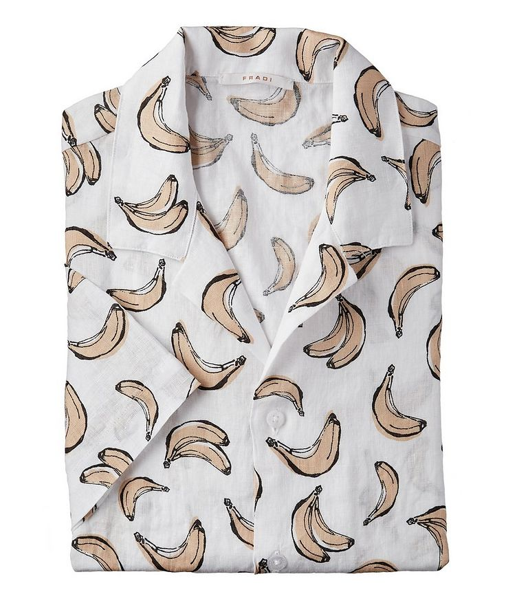 Printed Linen Short-Sleeve Shirt image 0