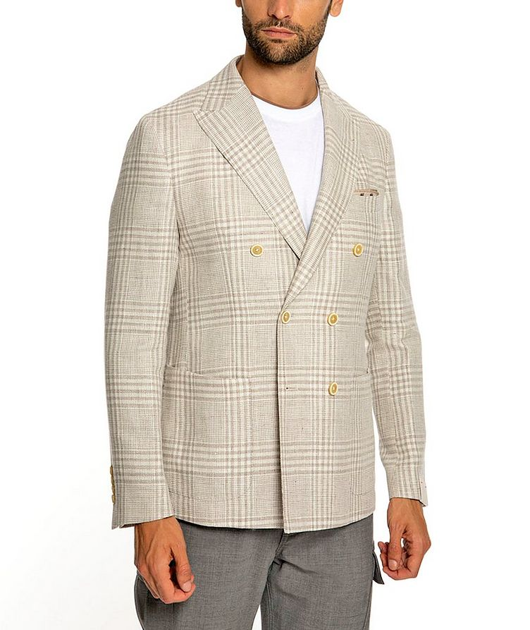Plaid Linen-Wool Structured Sports Jacket image 1