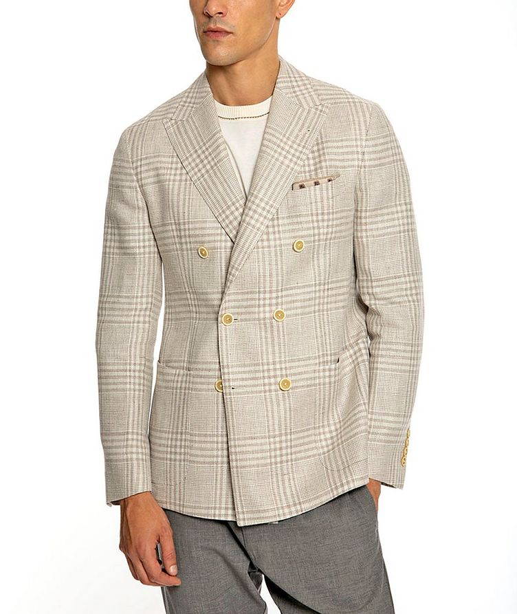 Plaid Linen-Wool Structured Sports Jacket image 4