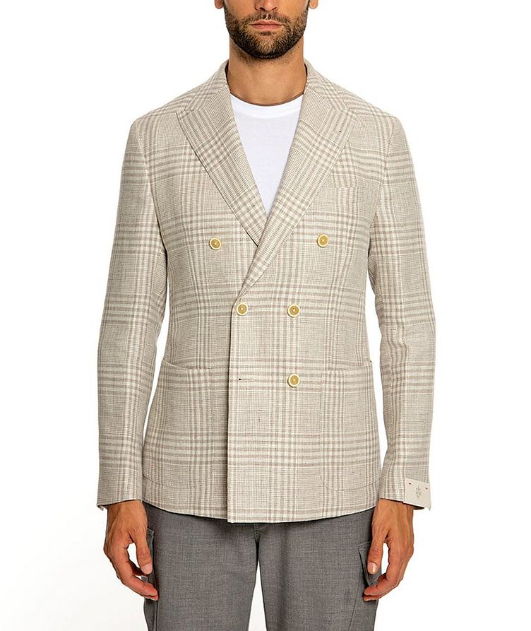 Plaid Linen-Wool Structured Sports Jacket image 0