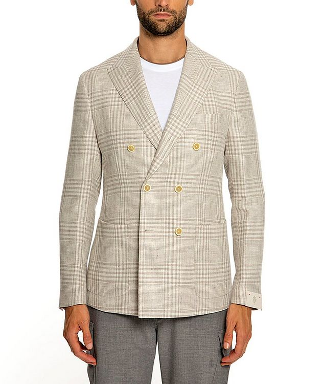 Plaid Linen-Wool Structured Sports Jacket picture 1