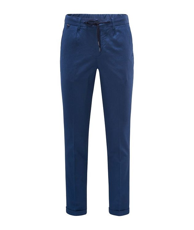 Stretch Linen-Cotton Drawstring Pants picture 1