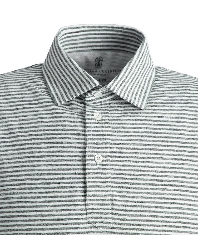 Striped Stretch-Linen Polo image 1