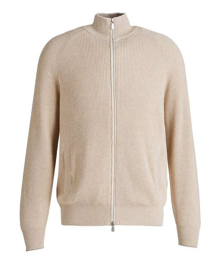 Zip-Up Cable Knit Sweater image 0