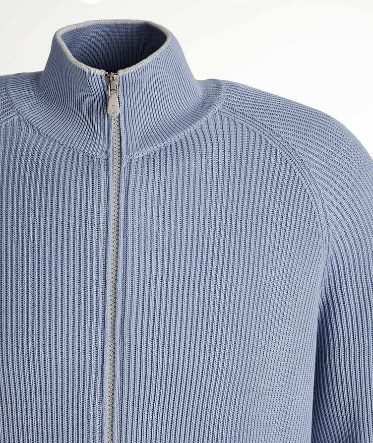 Zip-Up Cable Knit Sweater image 1