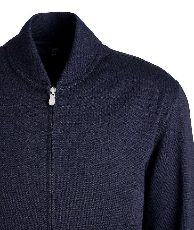 Zip-Up Cashmere-Stretch Cotton Sweater image 1