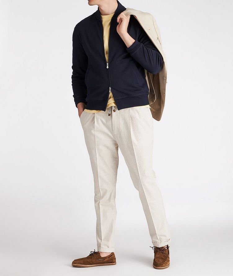 Zip-Up Cashmere-Stretch Cotton Sweater image 3