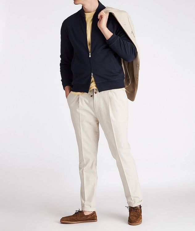 Zip-Up Cashmere-Stretch Cotton Sweater picture 4