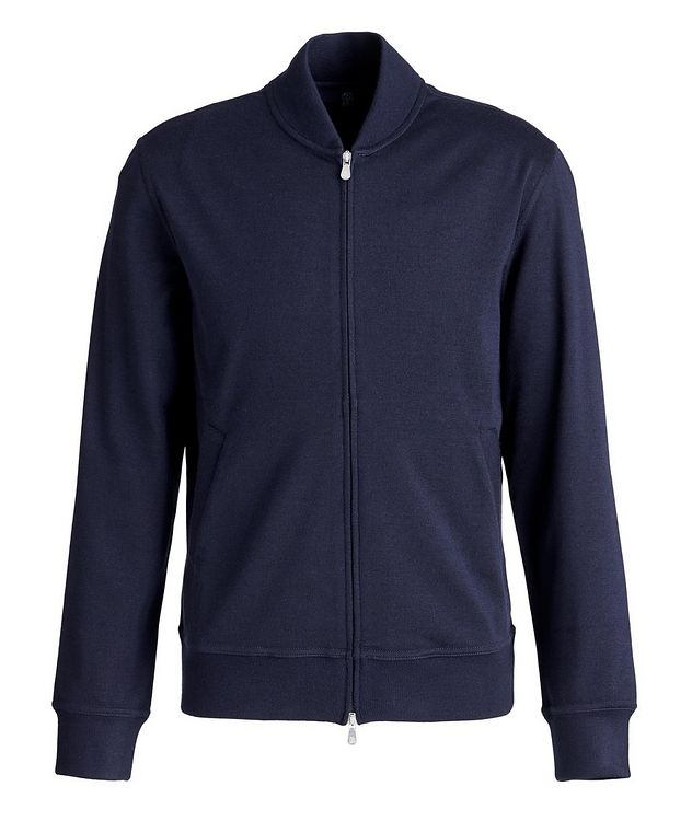 Zip-Up Cashmere-Stretch Cotton Sweater picture 1