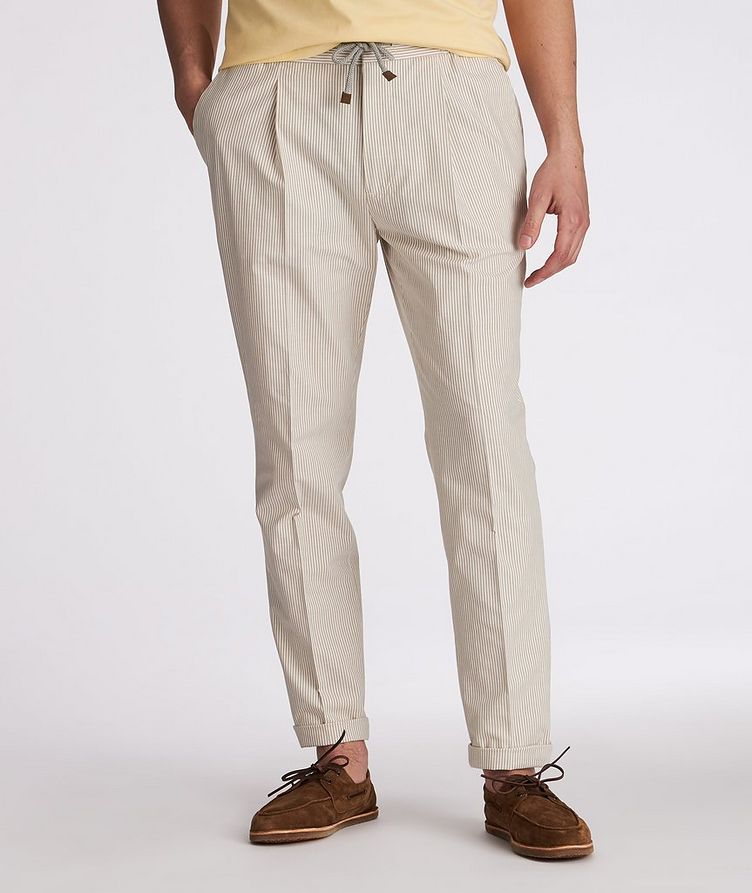 Striped Stretch-Cotton Drawstring Pants image 1