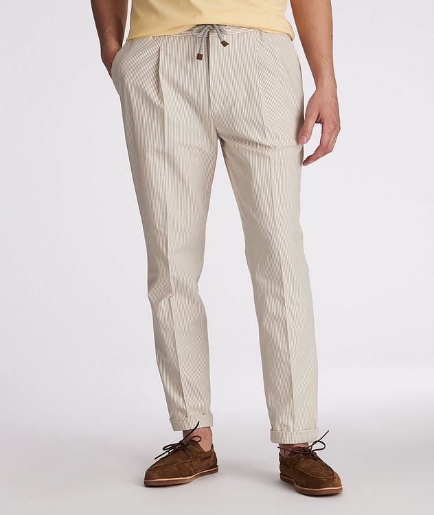 Striped Stretch-Cotton Drawstring Pants picture 2