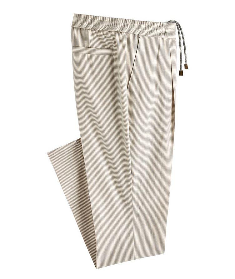 Striped Stretch-Cotton Drawstring Pants image 0