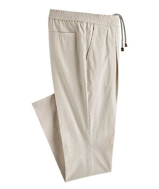 Brunello Cucinelli Striped Stretch-Cotton Drawstring Pants