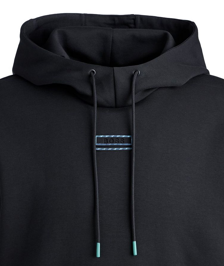 BOSS Short-Sleeve Cotton-Blend Hoodie image 2