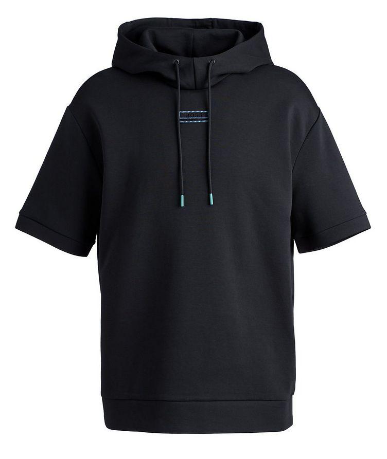 BOSS Short-Sleeve Cotton-Blend Hoodie image 0