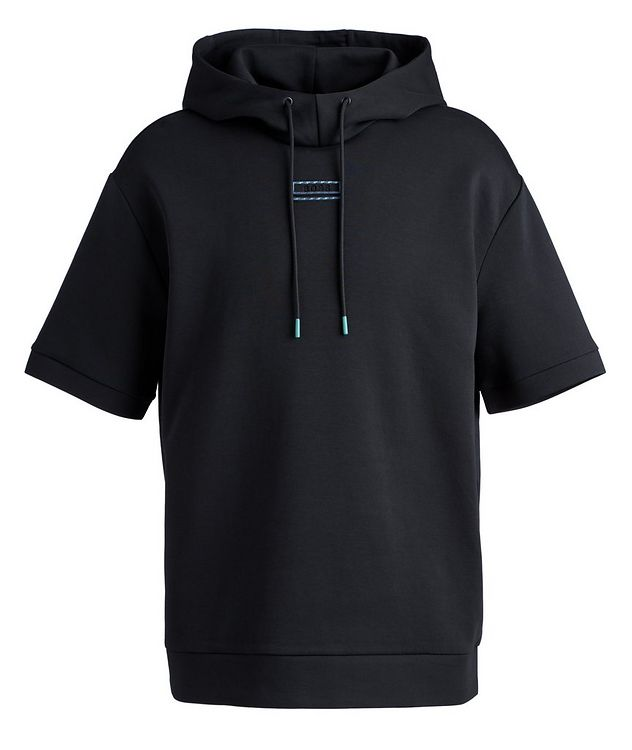 BOSS Short-Sleeve Cotton-Blend Hoodie picture 1