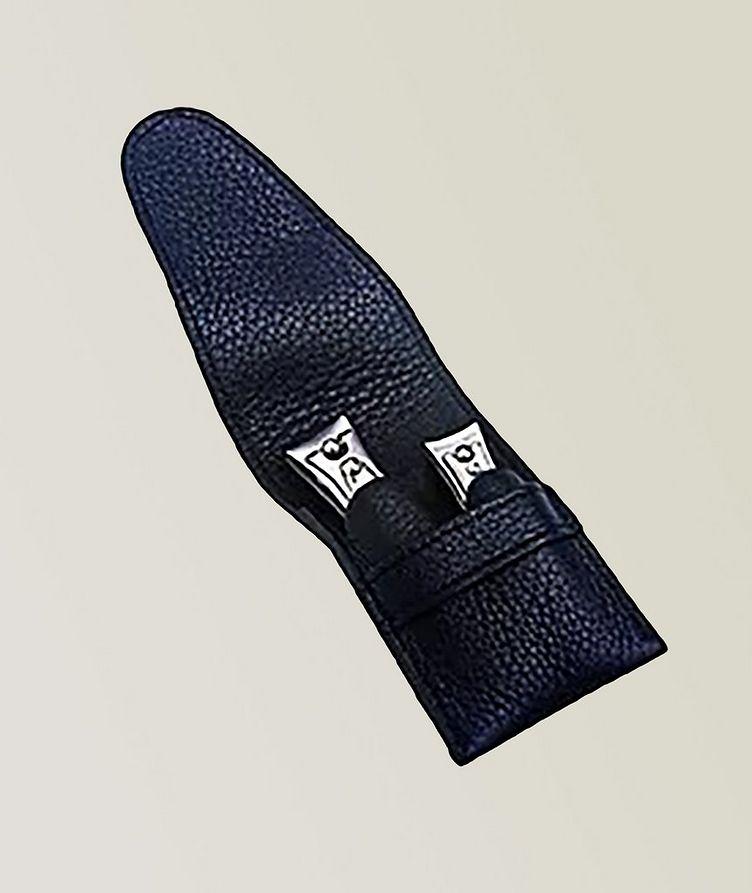 Capri Schwarz 2pc Manicure Set In High Quality Leather Case image 0