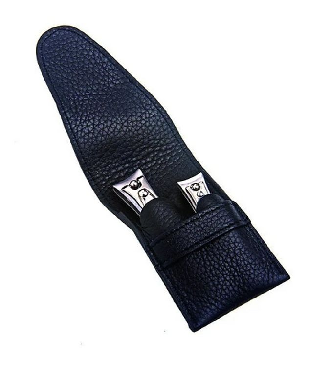 Capri Schwarz 2pc Manicure Set In High Quality Leather Case picture 1