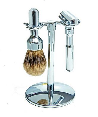 Merkur 3pc Double Edge Safety Razor Shaving Set, Chrome-Plated