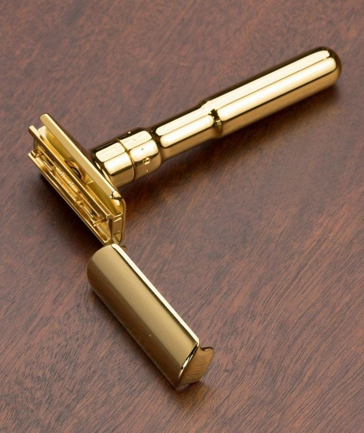 Adjustable Double Edge Safety Razor With Snap Closure, Gold image 1