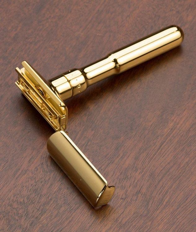 Adjustable Double Edge Safety Razor With Snap Closure, Gold picture 2