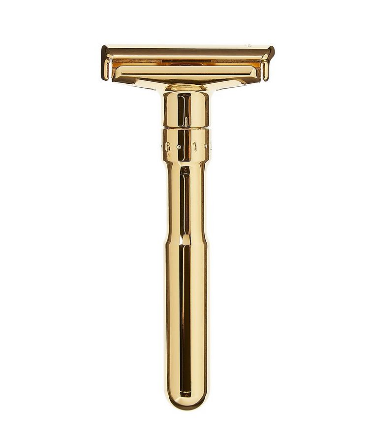 Adjustable Double Edge Safety Razor With Snap Closure, Gold image 0