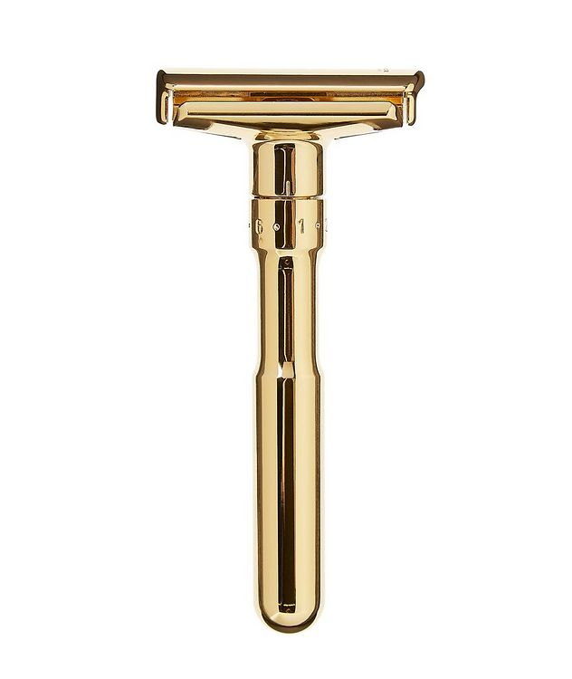 Adjustable Double Edge Safety Razor With Snap Closure, Gold picture 1