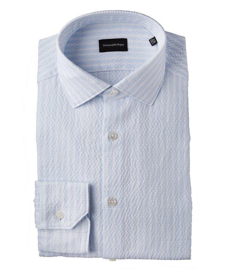 Striped Seersucker Cotton-Blend Dress Shirt image 0