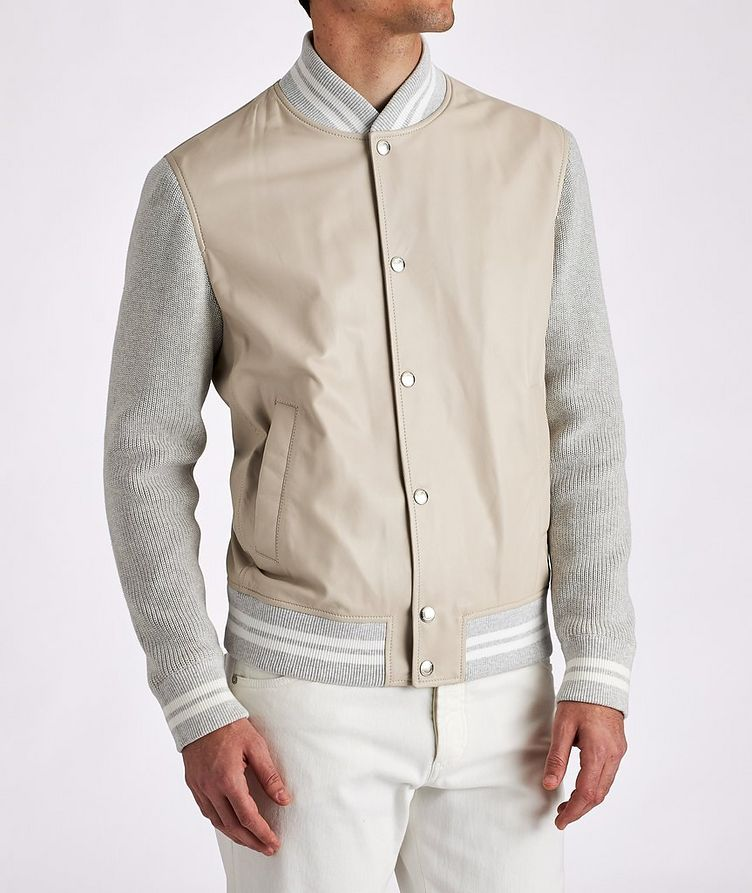 Leather and Knit Bomber Jacket image 1