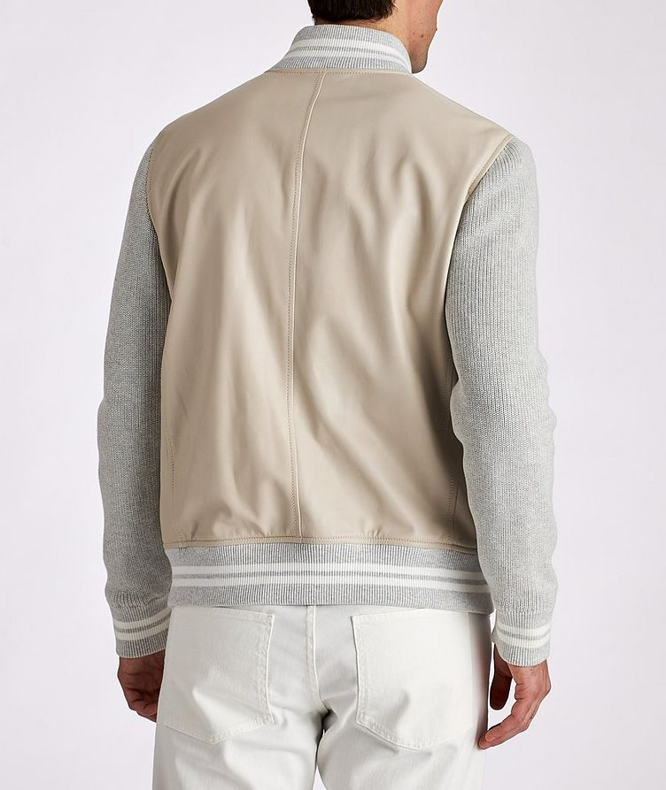 Leather and Knit Bomber Jacket image 2