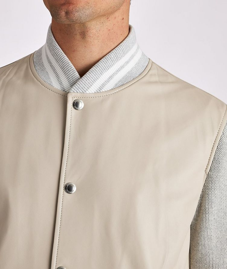 Leather and Knit Bomber Jacket image 3