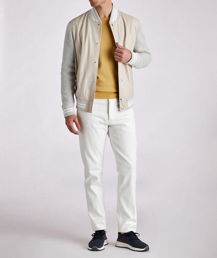 Blouson court en cuir et tricot image 4
