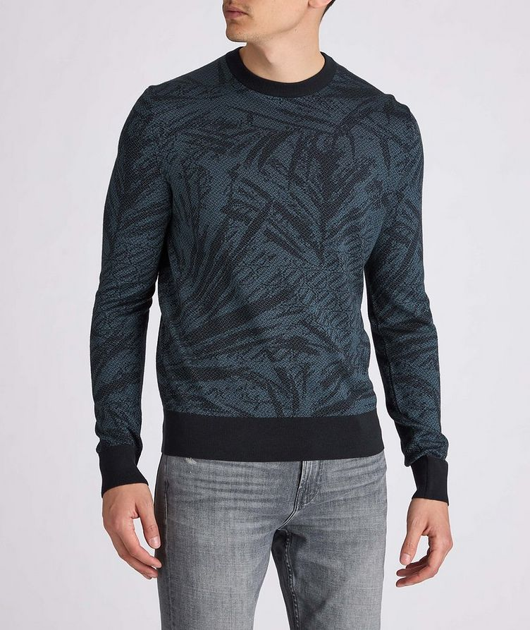 Floral Jacquard Silk-Wool-Cotton Sweater image 1