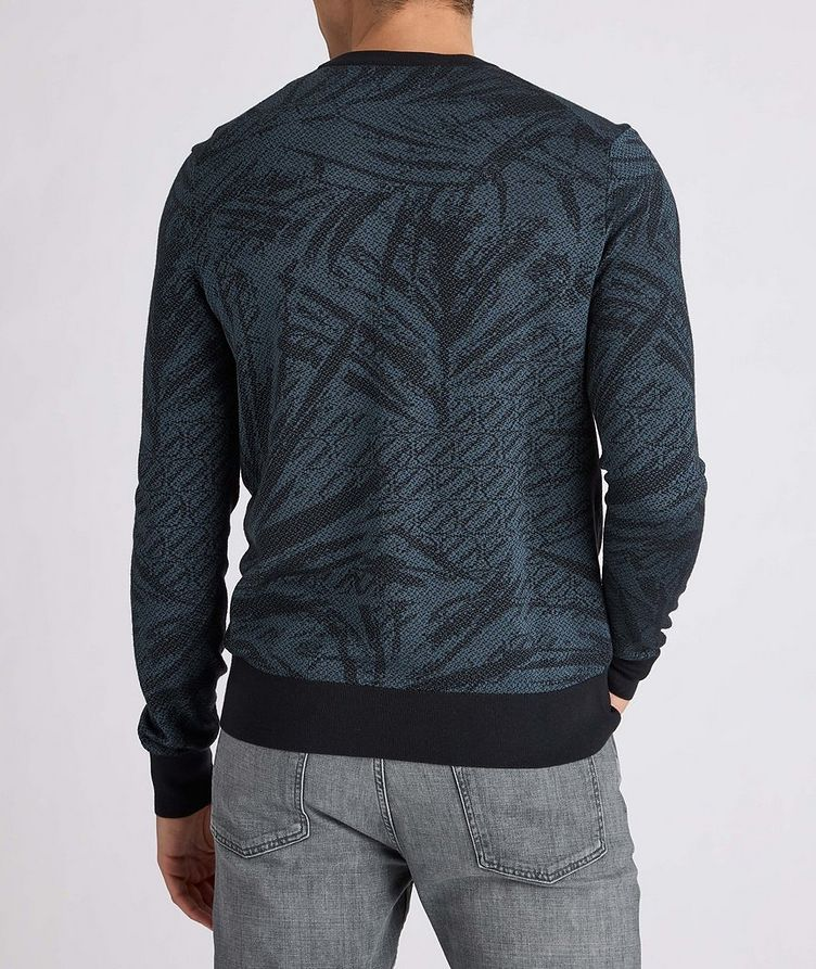 Floral Jacquard Silk-Wool-Cotton Sweater image 2