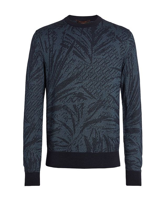 Floral Jacquard Silk-Wool-Cotton Sweater picture 1