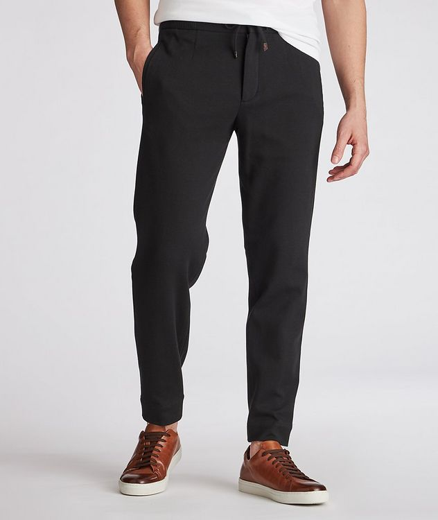 Cotton-Silk Jersey Drawstring Joggers picture 2