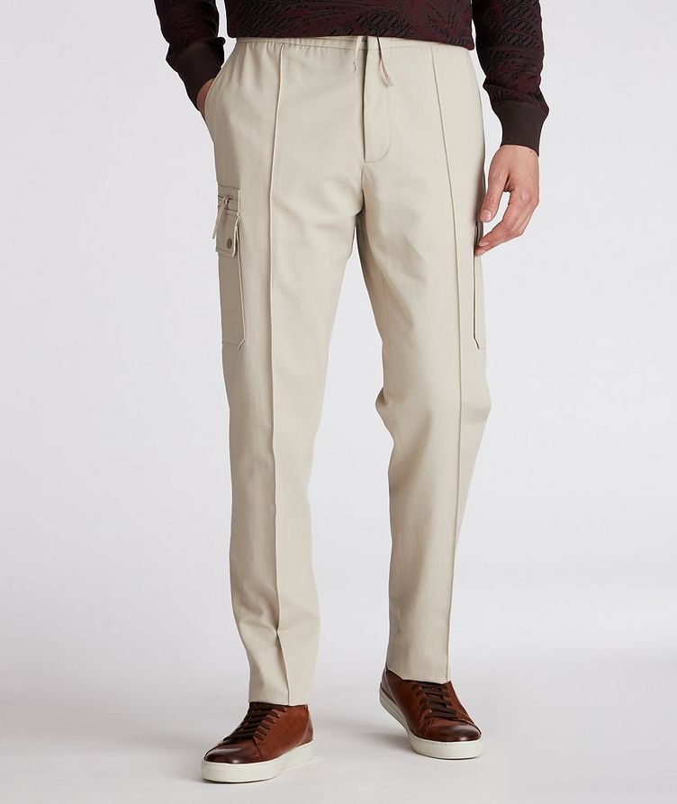 Pantalon sport en coton et lin à poches cargo et à cordon image 1